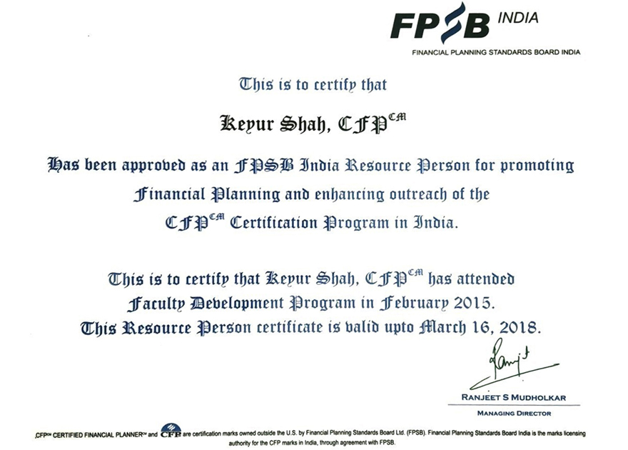 FPSB India Certified Trainer 2015